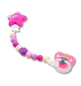 Petite Creations petite creations silicone pacifier holder - pink star