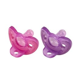 gumdrop newborn pacifier pink/purple 0-3m 2pk