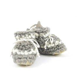 Padraig Cottage padraig cottage newborn & baby slippers - grey stripe