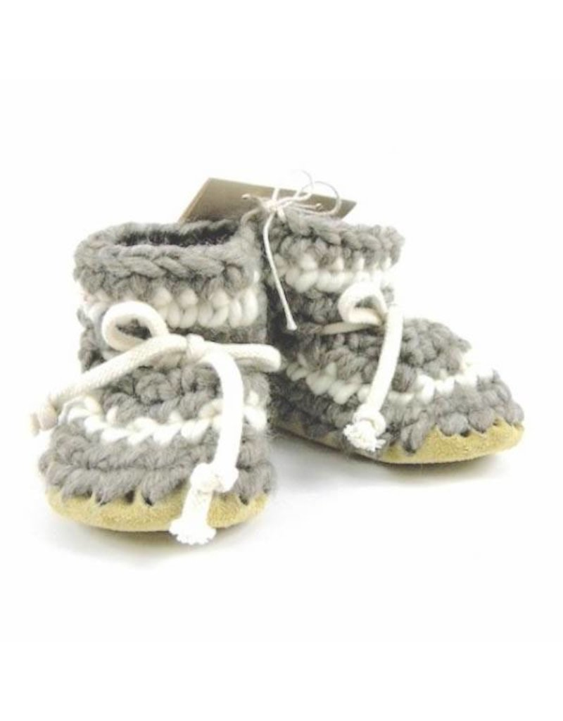 Padraig Cottage Grey Stripe Slippers Youth Sizes Baby
