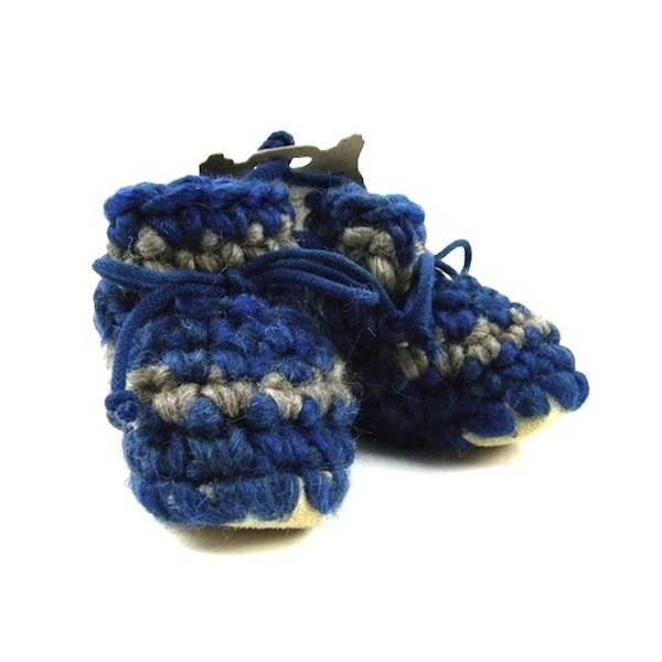 Padraig Cottage padraig cottage newborn & baby slippers - denim stripe