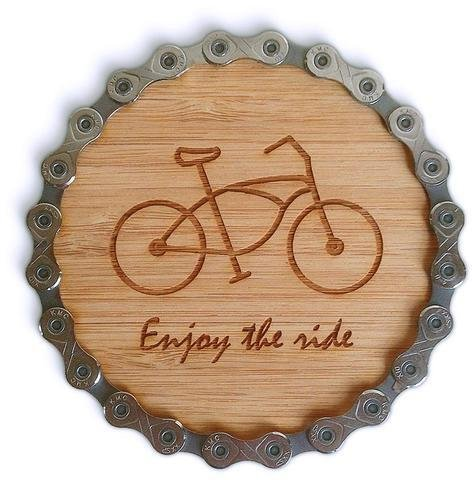 Resource Revival Resource revival, Bamboo Bike chain coasters set of 4