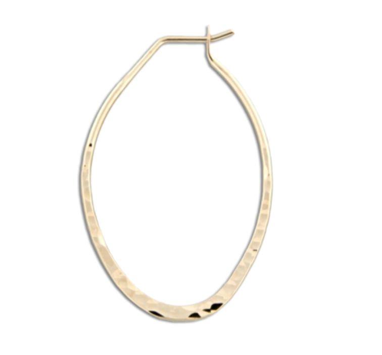 Mark Steel Hammered Oval Hoop Earring - 35mm Gold Filled