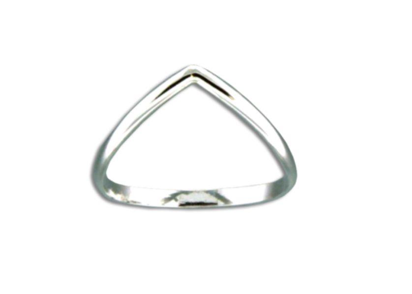 Mark Steel Half Round V Ring Sterling Silver