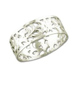 Mark Steel Filligree Ring Sterling Silver