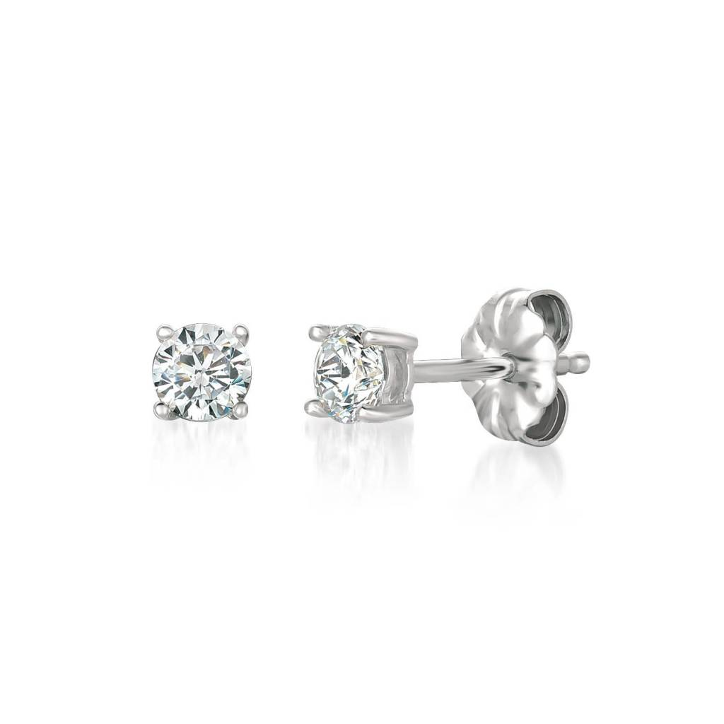 Brian Crisfield Solitaire Brilliant 0.50 Ct Earrings Platinum Plated Over Silver