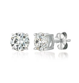 Brian Crisfield Solitaire Brilliant 2 Ct Earrings Platinum Plated Over Silver