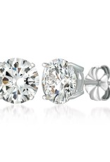 Brian Crisfield Solitaire Brilliant 4 Ct Earrings Platinum Plated Over Silver