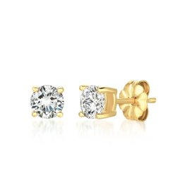 Brian Crisfield Solitaire Brilliant 1 Ct Earrings 18kt Gold Plated Over Silver