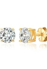 Brian Crisfield Solitaire Brilliant 2 Ct Earrings 18kt Gold Plated Over Silver
