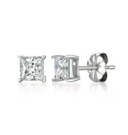 Brian Crisfield Solitaire Princess 1.50 Ct Earrings Platinum Plated Over Silver