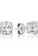 Brian Crisfield Solitaire Asscher 4 Ct Earrings Platinum Plated Over Silver