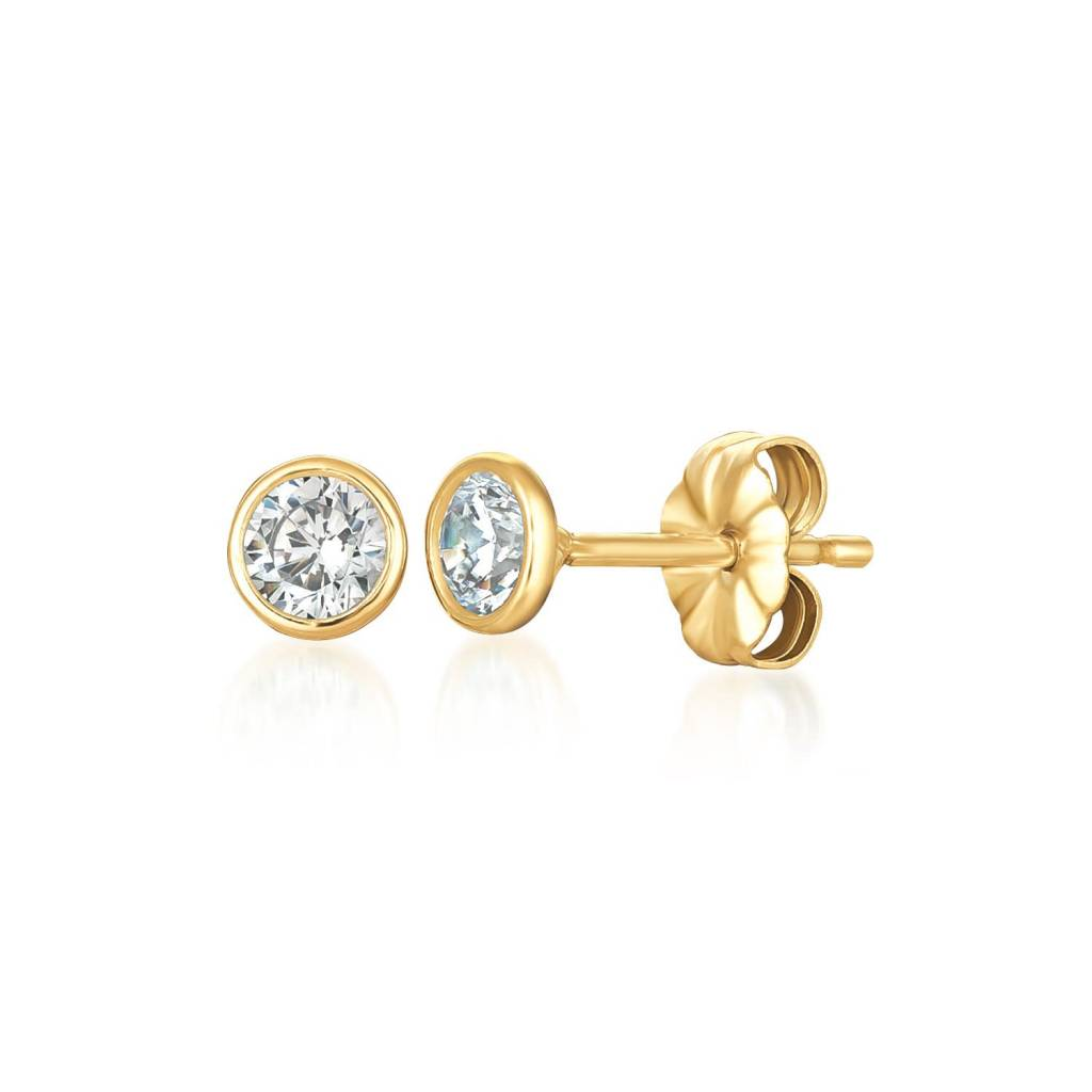 Brian Crisfield Solitaire Bezel 1 Ct Earrings 18k Gold Plated Over Silver