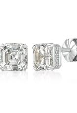 Brian Crisfield Royal Asscher Cut Earrings Platinum Plated Over Silver