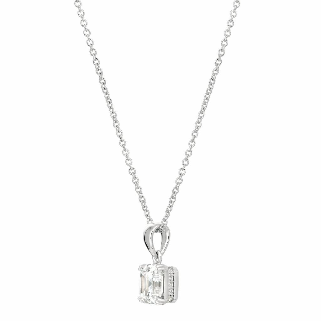 Brian Crisfield Royal Asscher Cut Pendant Necklace Platinum Plated Over Silver