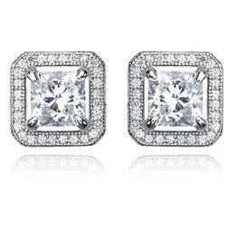 Brian Crisfield Princess Cut Halo Earrings Platinum Plated Over Silver