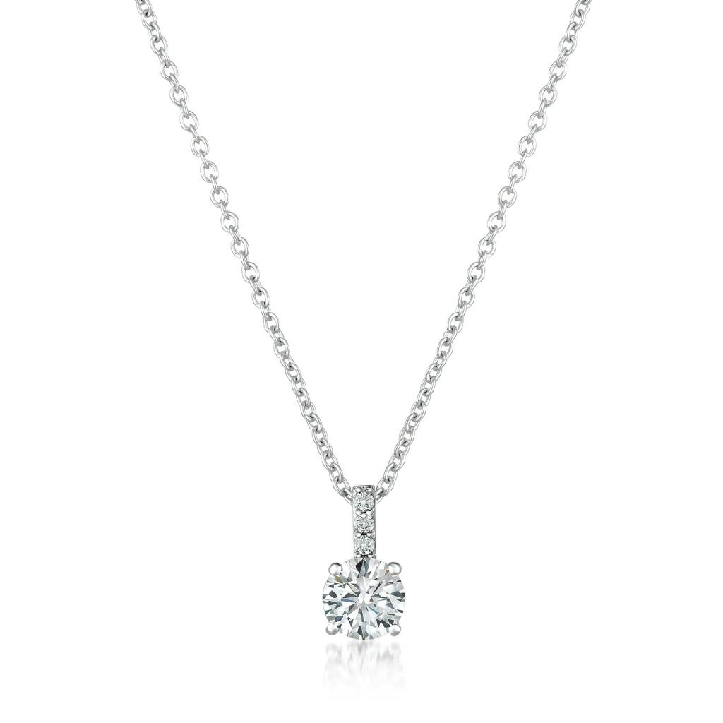 Brian Crisfield Accented Brilliant Pendant Necklace Platinum Plated Over Silver