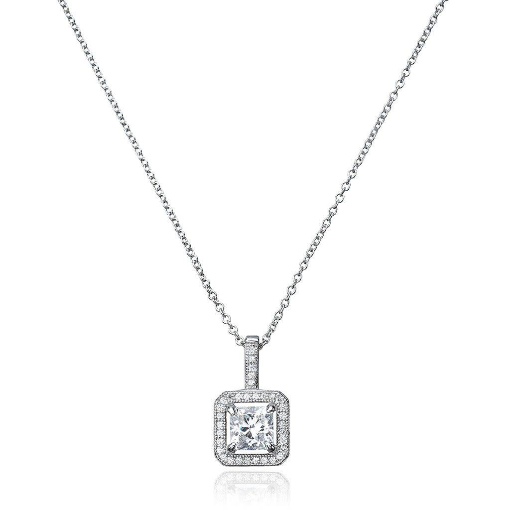 Brian Crisfield Princess Cut  Pendant Necklace Platinum Plated Over Silver