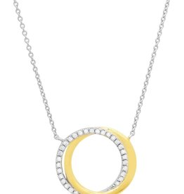 Brian Crisfield Small Interlocking Two-Tone Pendant Necklace Platinum Plated Over Silver