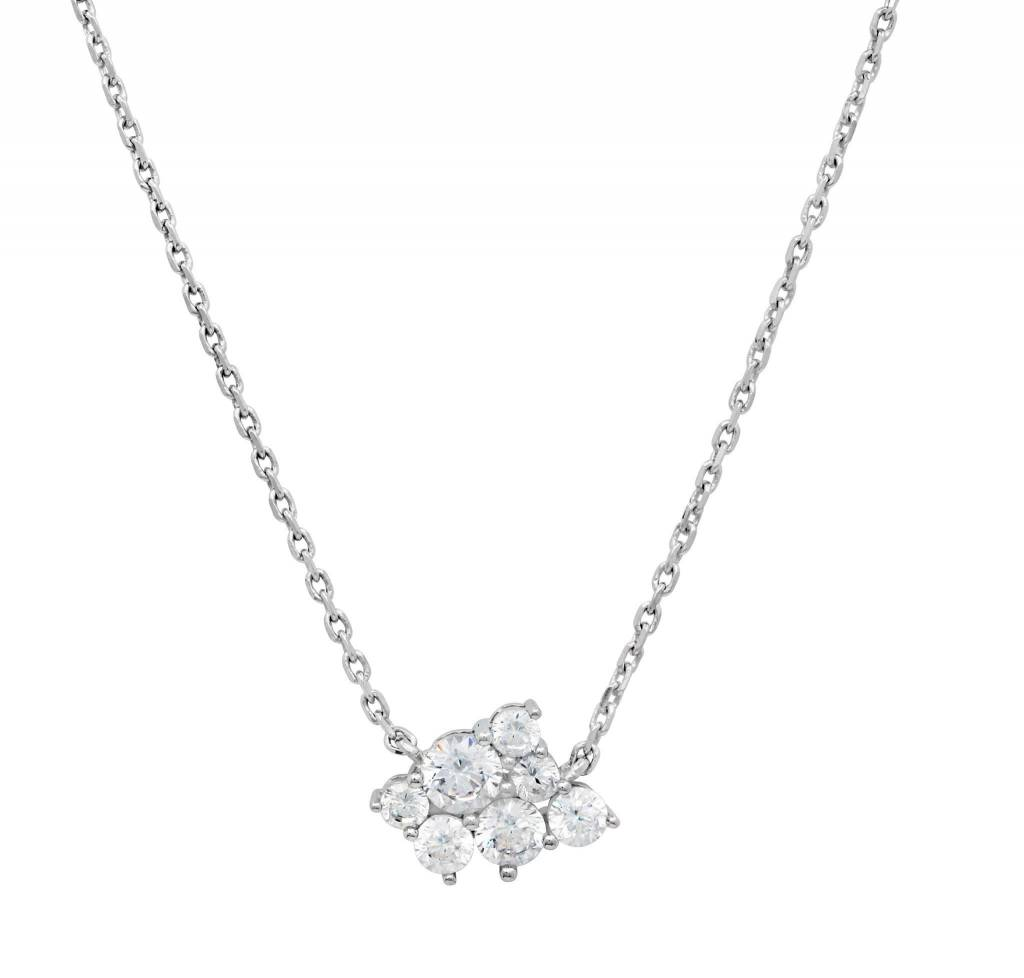 Brian Crisfield Cluster Pendant Necklace Platinum Plated Over Silver