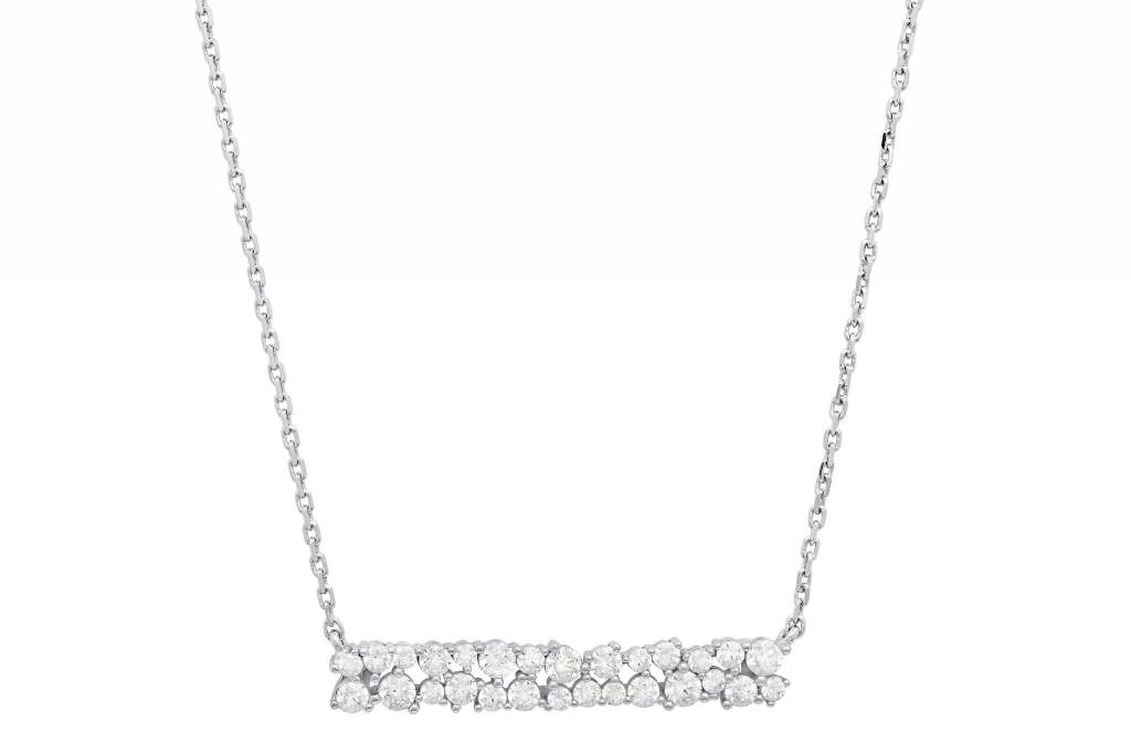 Brian Crisfield Cluster Bar Pendant Necklace Platinum Plated Over Silver