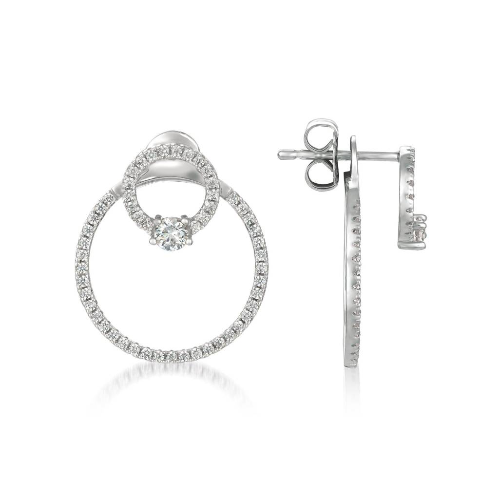 Brian Crisfield Twin Hoops Finished Platinum Plated Over Silver