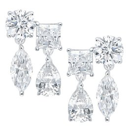 Brian Crisfield Multi Shape Drop Earrings Platinum Plated Over Silver