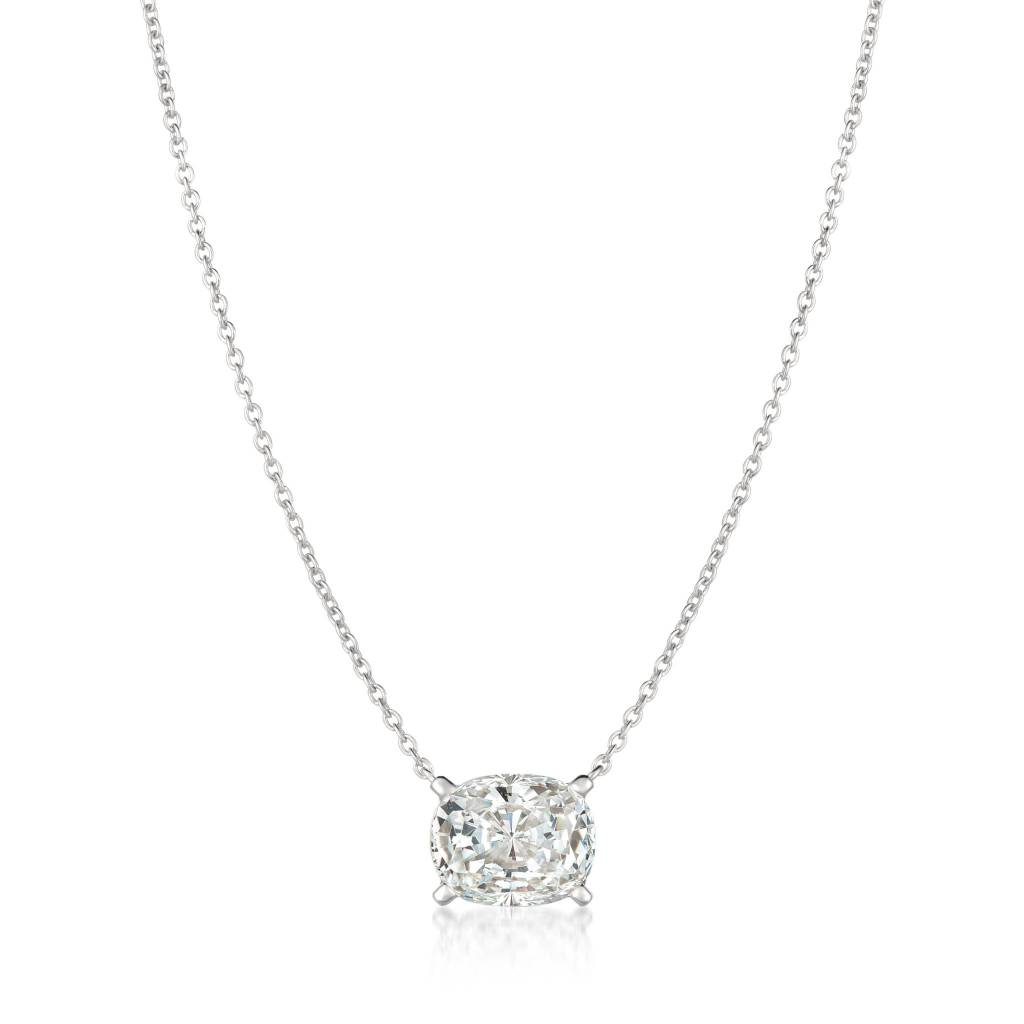 Brian Crisfield Radiant Cushion Cut Necklace Platinum Plated Over Silver