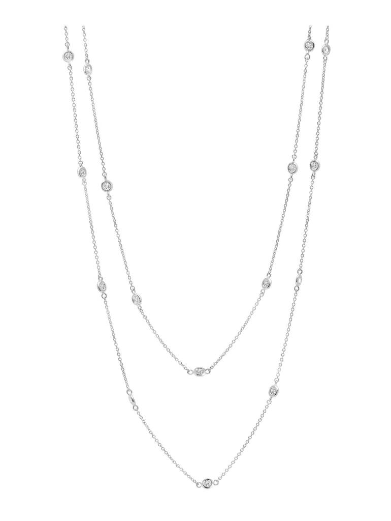 "Brian Crisfield Bezel 36"" Necklace Platinum Plated Over Silver"
