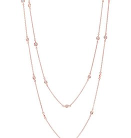 "Brian Crisfield Bezel 36"" Necklace 18kt Rose Gold Plated Over Sterling Silver"