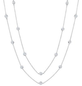 "Brian Crisfield Bezel 36"" Necklace Platinum Plated Over Sterling Silver"