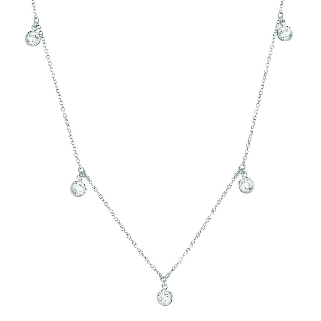 Brian Crisfield Drop Bezel Necklace Platinum Plated Over Sterling Silver