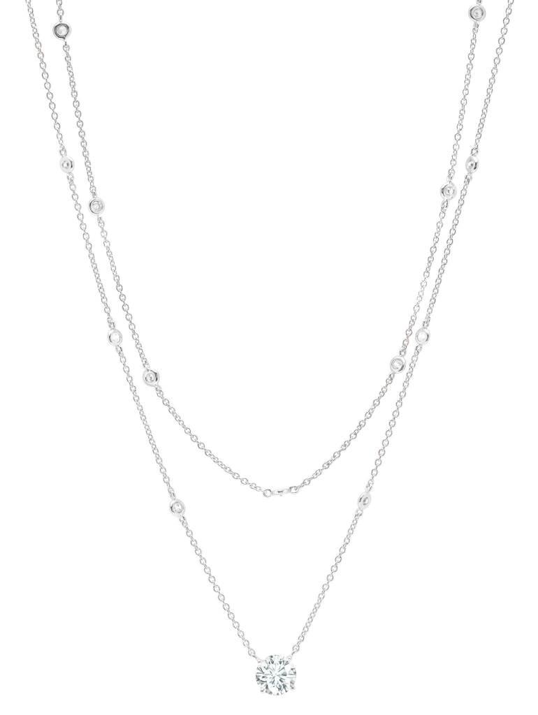 Brian Crisfield Solitaire Double Layered Necklace Platinum Plated Over Sterling Silver