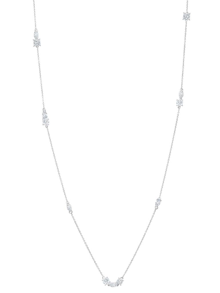 Brian Crisfield Multi Shape Necklace Platinum Plated Over Sterling Silver