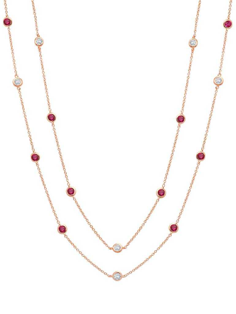 "Brian Crisfield Bezel 36"" Necklace with Clear and Ruby CZ 18KT Rose Gold Plated Over Sterling Silver"