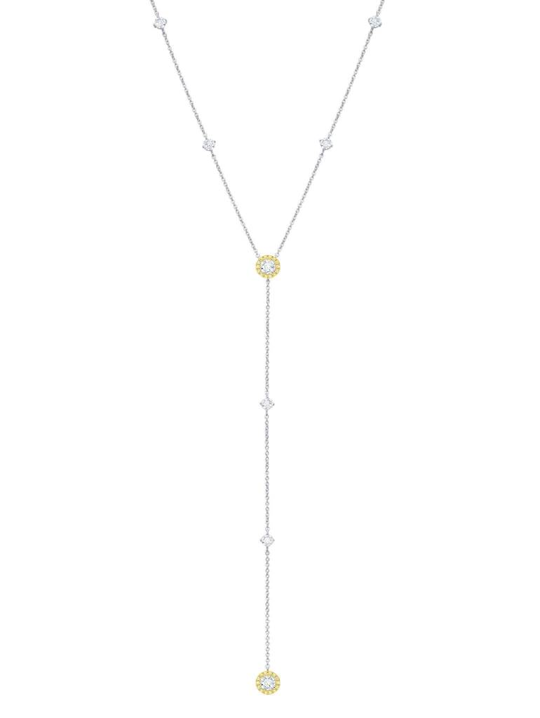 Brian Crisfield Fiore Canary Halo Y-Necklace Platinum Plated Over Sterling Silver