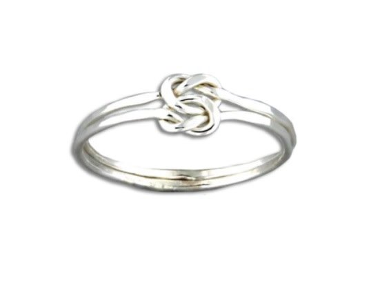 Mark Steel Love Knot Facet Ring Sterling Silver