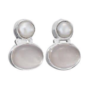 Steven + Clea Gemstone Pearl Sterling Silver Earring