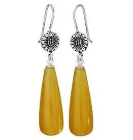 Steven + Clea Sunflower Honey Jade Drop  Earrings