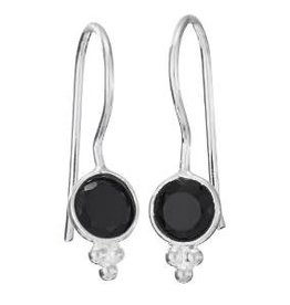 Steven + Clea Onyx Simple Gemstone Sterling Silver Earrings