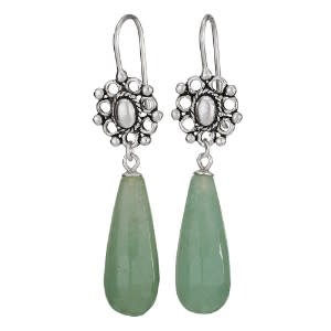 Steven + Clea Jade Drop/Oval Decorative Hook Gemstone Sterling Silver Earrings