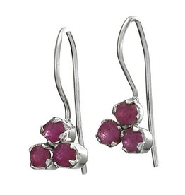 Steven + Clea Facet Ruby Gemstone Sterling Silver Earrings