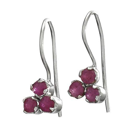 Steven + Clea Facet Ruby Gemstone Sterling Silver Earrings