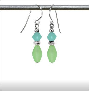 Austin Cake Lantern Earrings Pale Greens