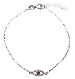 Paula  +  Alissa Sterling Silver Eye Necklace With Cz Stone