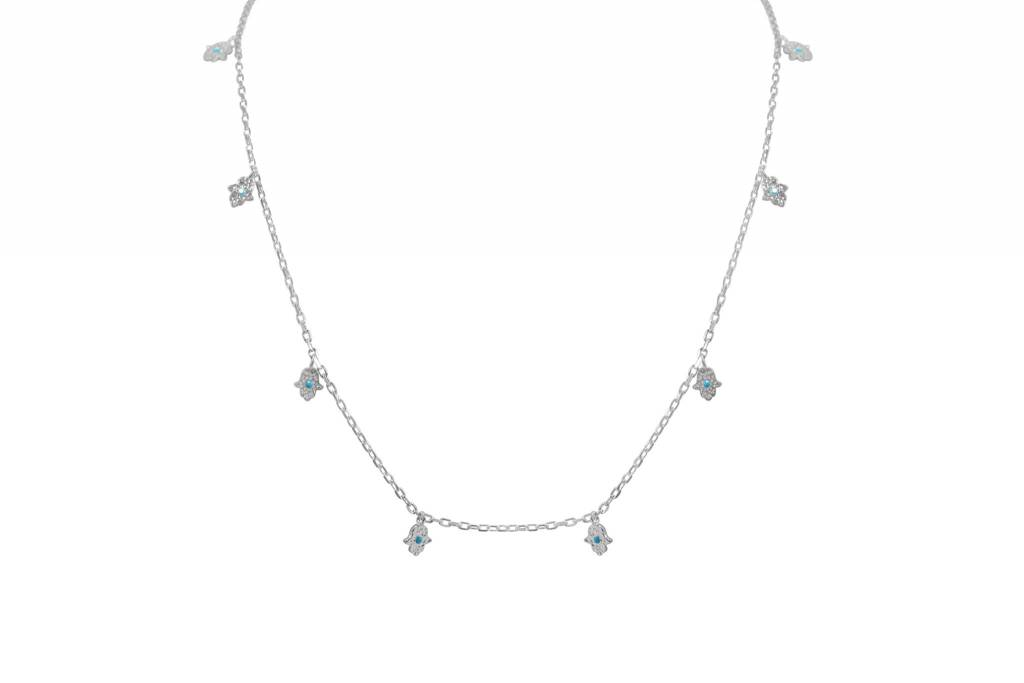 Paula  +  Alissa Sterling Silver Hamsa Carm Dangle Necklace