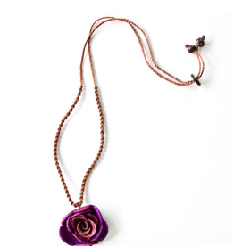 Angela Sanchez Purple Isnos Plus Orange Rose Necklace