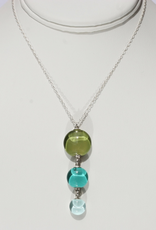 """Bryce + Paola Mini Triple Drop Watercolor Pendant """"ISLAND"""" on a Stainless Steel Necklace with Sterling Silver Findings"""