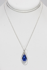 Bryce + Paola Mini Teardrop Sola With Silver Hoop Pendant PRINCESS BLUE on a Sterling Silver Chain