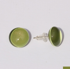 Bryce + Paola Mini Round Sola Earring PEPPER GREEN with Sterling Silver Post